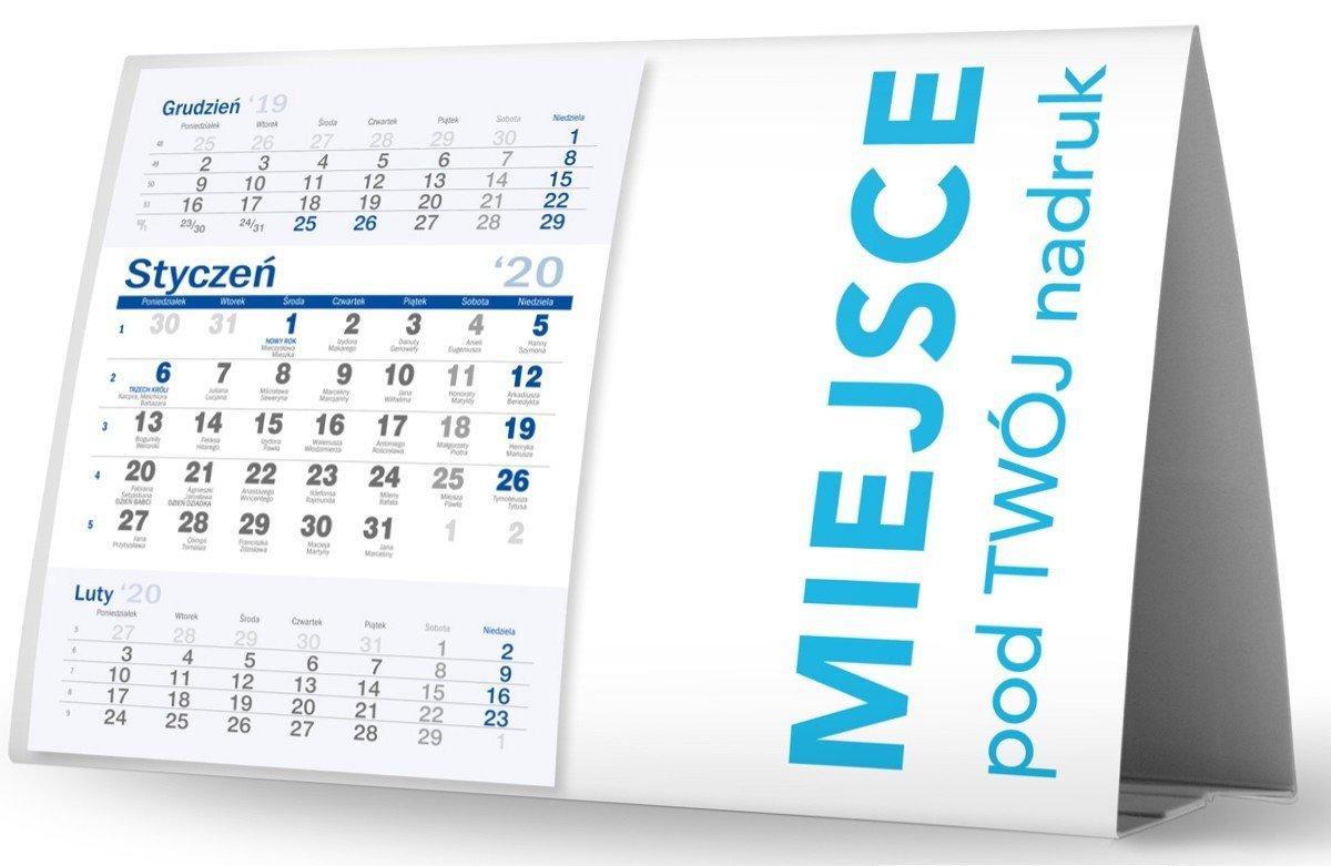 Kalendarz biurkowy poziomy kalendarium miesięczne
