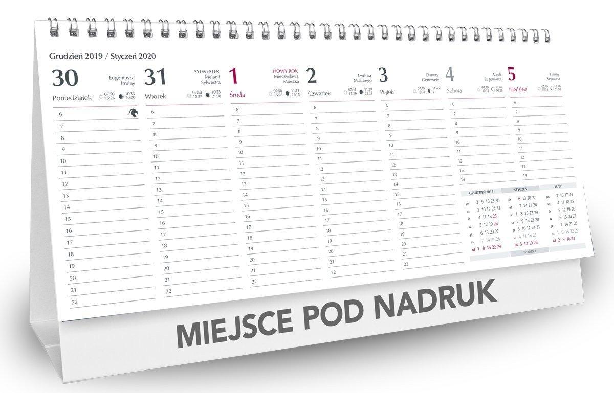 Kalendarz biurkowy poziomy kalendarium tygodniowe